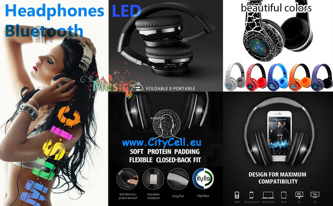 Bluetooth Headphones Headsets Led
