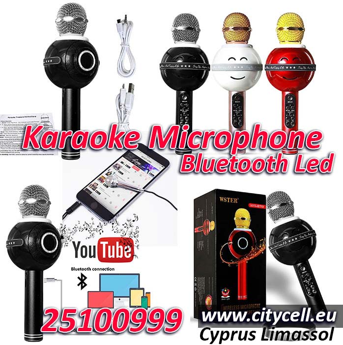 Karaoke Microphone Led Light Color Speaker Bluetooth Cyprus Limassol